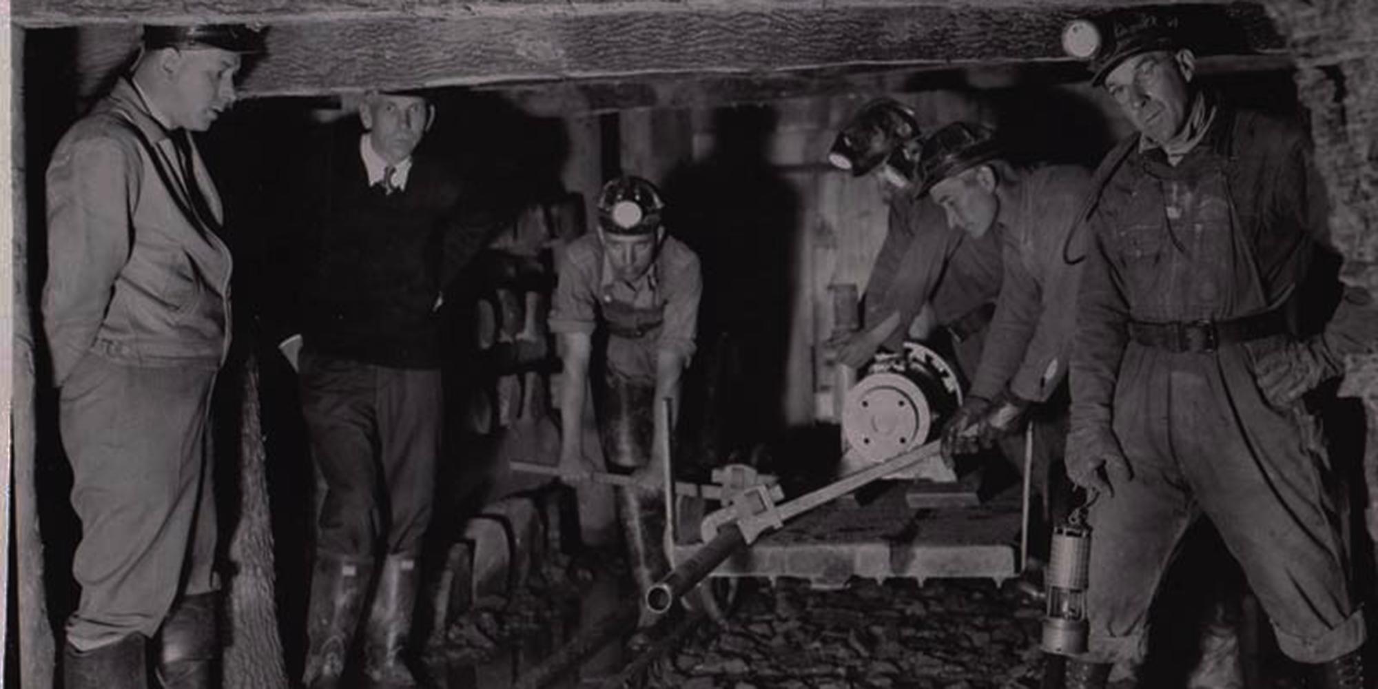 Coal miners in mine