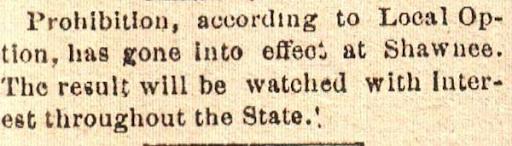 Shawnee Newspaper Prohibition Article